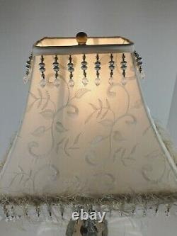 Vintage White/Milk Glass Iridescent Table Lamp withtin Accents Hollywood regency