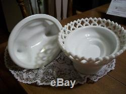 Vintage White Milk Glass Westmoreland Hen On A Laced Base- Perfect