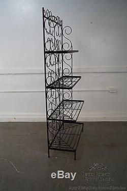 Vintage Wrought Iron Bakers Rack with White Milk Glass Shelves