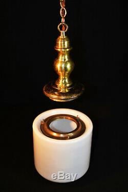 Vintage art deco C-1930s schoolhouse Brass & Opaline milk glass pendant light