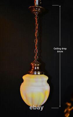 Vintage art deco C-1940s schoolhouse Bronze & Opaline milk glass pendant light