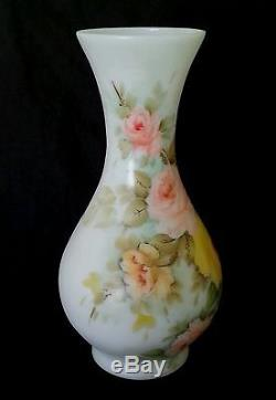 Vintage hand painted roses large milk glass vase 13.5 inches, artist signed