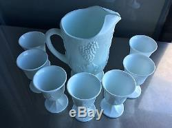 Vintage milk glass Grape Leaves White Pitcher Wine Glass Cup