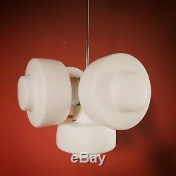 Vintage space age pop art white opaline milk glass sputnik pendant light Europe