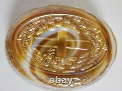 Vintage westmoreland Orange Caramel & White Swirl Marble Slag Glass Hen on Nest