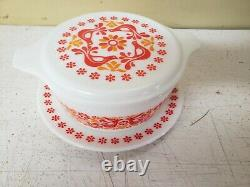Vnt Pyrex Friendship Covered Casserole 475 2.5 Qt Dish withPromo Lid & Underplate