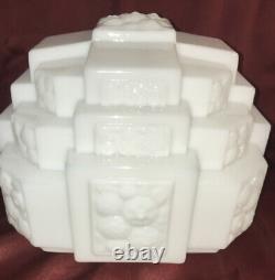 Vntg Art Deco Milk Glass Architectural Skyscraper Cubism Ceiling Light Shade