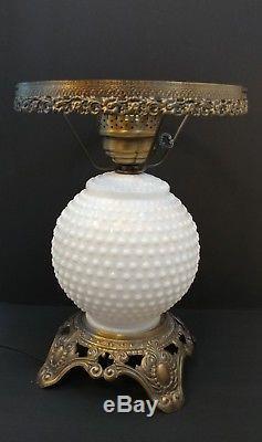 Vntg White Milk Glass Hobnail GWTW Parlor Lamp Top & Bottom Light Up