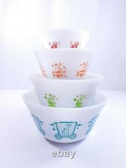 Vtg 1960's Federal Milk Glass Heat Proof Circus Mixing Nesting Bowls Set of 4
