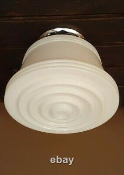 Vtg Art Deco Frosted Milk Glass Shade Ceiling Light Fixture Chandelier
