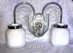 Vtg Art Deco Milk Glass Metal Chrome Wall Sconce Light Fixture Bathroom Vanity