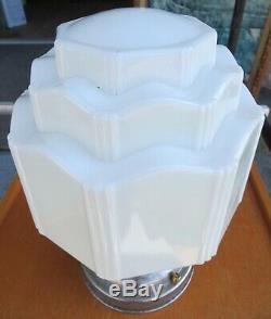 Vtg. Art Deco Milk Glass Skyscraper Ceiling Mount Light Fixture 8 Sides L@@k