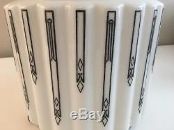 Vtg Art Deco Milk Glass Stencil Black White Ceiling Globe Shade Light