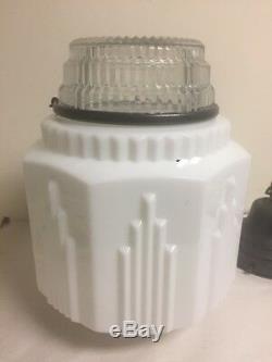 Vtg Art Deco Skyscraper Light Fixture Lamp Graduating Milk Glass Globe
