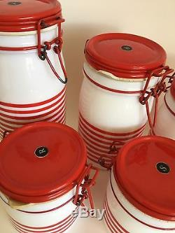Vtg Cerve Canisters Jars Italy Red White Candy Stripe Milk Glass Retro Kitsch