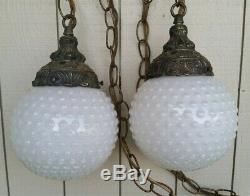 Vtg Double White Globe Hobnail Milk Glass Hanging Swag Lamp Light Mid Century