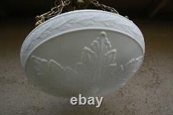 Vtg Embossed Shade Hanging Bowl Ceiling 4 Light Fixture Milk Glass Chandelier