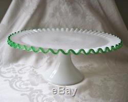 Vtg Fenton Emerald Green Crest Cake Stand Plate Mid-Century Elegant Milk Glass