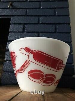 Vtg Fire King Anchor Hocking Glass co. Mixing Bowl 9 Spags VIBRANT No Reserve