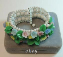 Vtg Fruit Salad 50's Molded Glass Flower Leaf Pastel Milk White Cuff Bracelet CB