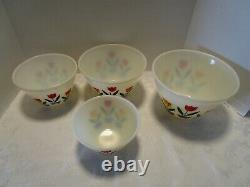 Vtg Hocking FIRE KING GLASS Tulips 4 Nesting Mixing Bowls 1950's Mid Century