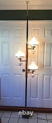 Vtg MCM Tension Pole Milk Glass Hobnail Frosted Hurricane Wood Metal Pole Works