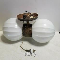 Vtg MCM Union Made Double RIBBED Globe Ceiling Vanity Light PullChain Milk Glass
