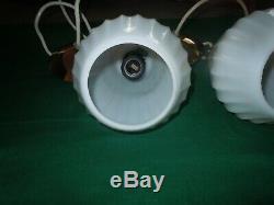 Vtg PAIR Mid Century Danish Modern Pendant Milk Glass & Brass Ceiling Lights