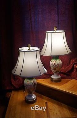 Vtg Pair Bristol Milk Glass Table Lamps Copper Leaf Gold Flowers Green White