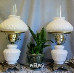 Vtg Pair White Diamond Hobnail Milk Glass Hurricane Table Lamp HEDCO Colonial