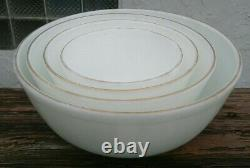 Vtg Pyrex Nesting Mixing Bowls Rare White with Gold Band 404 403 402 401 Set / 4