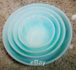 Vtg Pyrex White Turquoise Amish Butterprint Set of 4 Graduated Mixing Bowls MCM