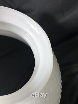 Vtg White Milk Glass Lamp Shade Hobnail Hanging Oil Kerosene Dome Parlor 14 Fit