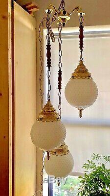 Vtg triple White globe Hobnail Milk Glass Hanging Swag Lamp Light Mid Century