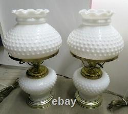 WORKING Vintage PAIR OF Hurricane Hobnail Milk Glass Table Lamp 15 1/2 tall