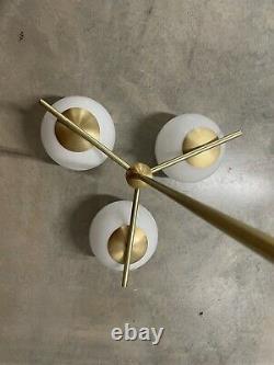 West Elm Sphere + Stem MCM Deco 3-Light Chandelier Milk Glass PRISTINE