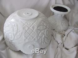 Westmoreland Glass large white milk glass punch bowl with pedestal stand