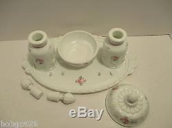 Westmoreland Milk Glass Dresser Vanity Set Paneled Grape Perfume Powder Box Tray