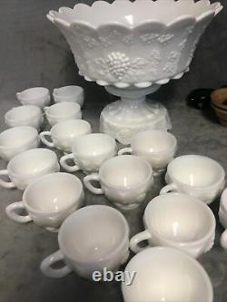 Westmoreland Milk Glass Paneled Grape Punch Bowl Set with Base & 16 Cups Nice