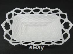 Westmoreland Swan Open Lace Edge Basketweave Base Milk Glass Wing Spread Dish