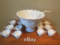 Westmoreland paneled grape milk glass punch bowl set with 12 cups, stand & ladle