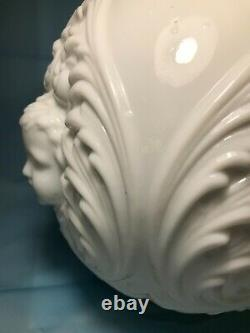 White Milk Glass Ball Shade Gone With The Wind Oil Lamp, Cherubs Baby Face
