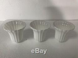 White Milk Glass Globe Shade Ribbed Bell Ribs Mid Century Modern Vintage Sconce