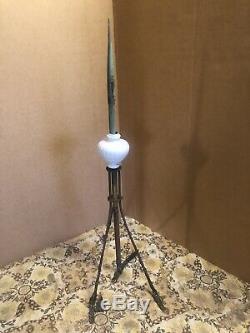 White Milk Glass ONION Pattern Old Lightning Rod Ball