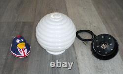 White Milk Glass PENDANT LIGHT, Beehive Design Mid Century, Vintage, Bauhaus