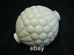 White Milk Glass Quilted Button Lightning Rod Ball Barn Globe Sphere Dot Light
