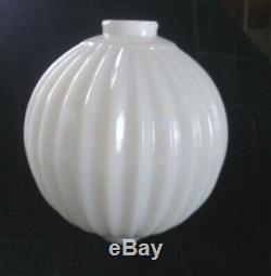 White Milk Glass Sharp Pleat Lightning Rod Ball 4.5 Diameter Cabin Home Barn