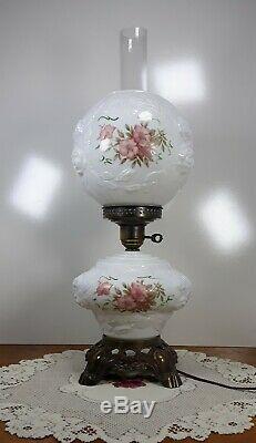 White Puffy Wild Rose Milk Glass Gone With the Wind Turnkey 3 Way Hurricane Lamp