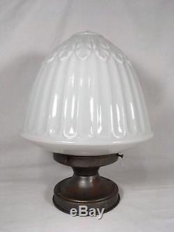 XL Antique Acorn Schoolhouse Library Light Fixture Chandelier Milk Glass Pendant