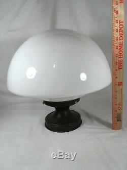 XL Antique Milk Glass Schoolhouse Ceiling Light Fixture VTG Art Deco Chandelier